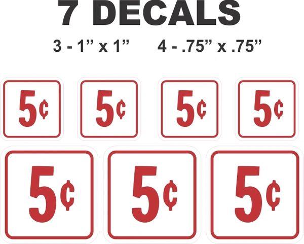 7 White Square 5 Cent decals Gumball Machine