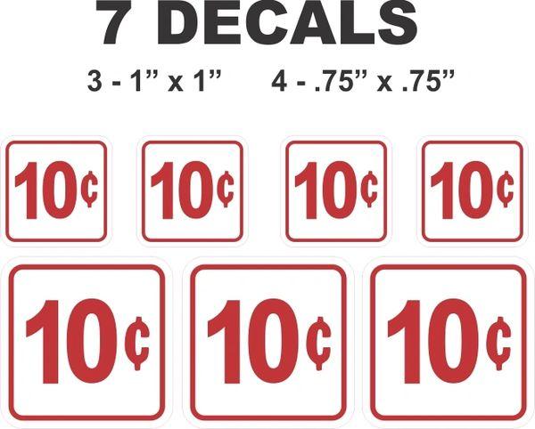 7 White Square 10 Cent Gumball Machine Decals