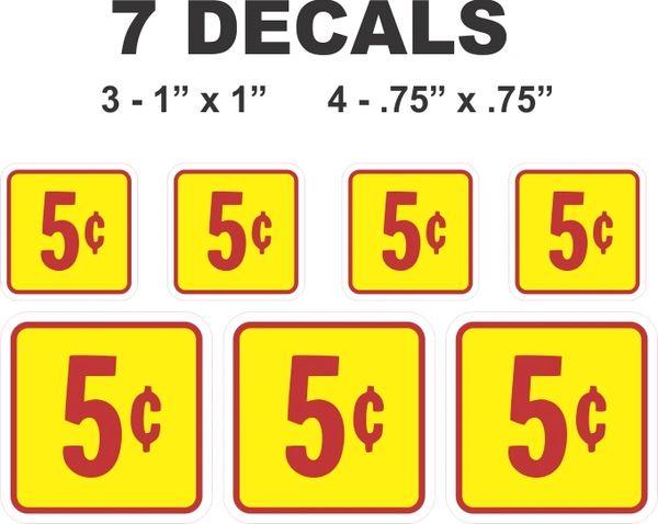 7 Square Yellow 5 Cent Gumball Machine Decals