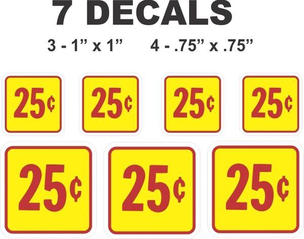 7 Yellow Square 25 Cent Gumball Machine Decals