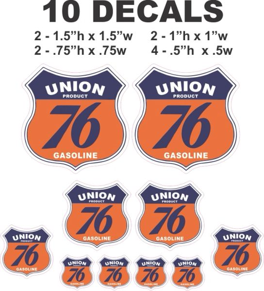10 Vintage Style Union 76 Decals, Great for Gas / Oil Cans, Scale Models, Dioramas and more