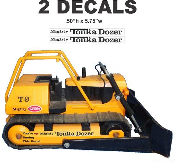 "2 Tonka Self Adhesive "" Mighty Tonka Dozer "" Black On Clear Mylar Decals"