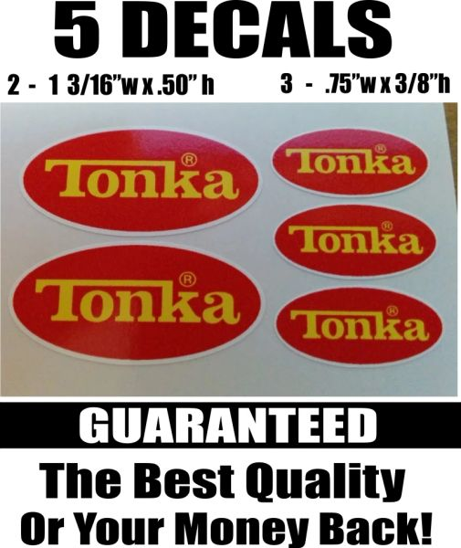 5 Tonka Red and Yellow Decals - You will not find any better decals anywhere!!