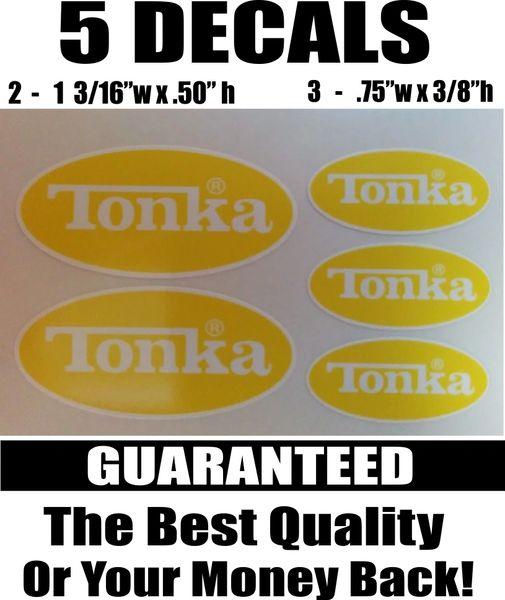 5 Yellow and white Tonka Decals - Nice!!!