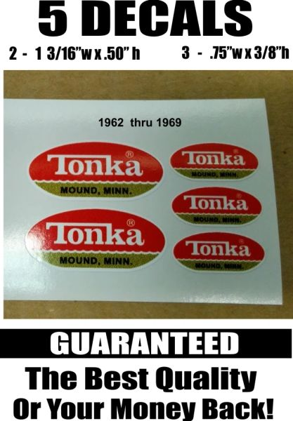 5 Red Gold Tonka Mound Minn. Flat Bottom Decals Used 1962 thru 1969