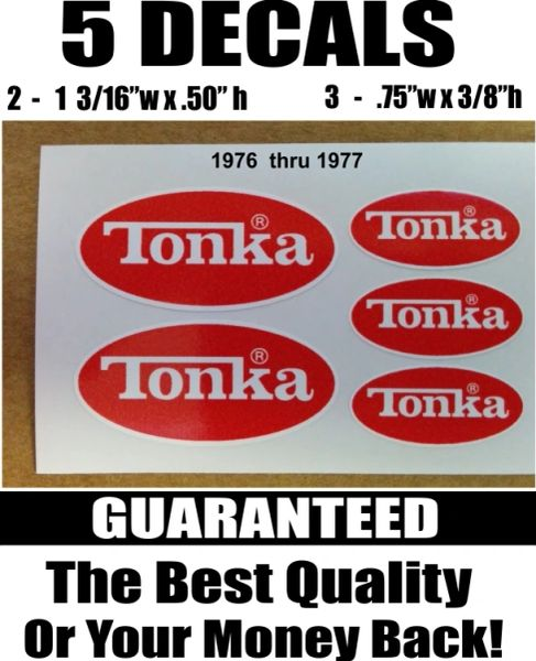 5 Red white Tonka Decals Used From 1976 and 1977