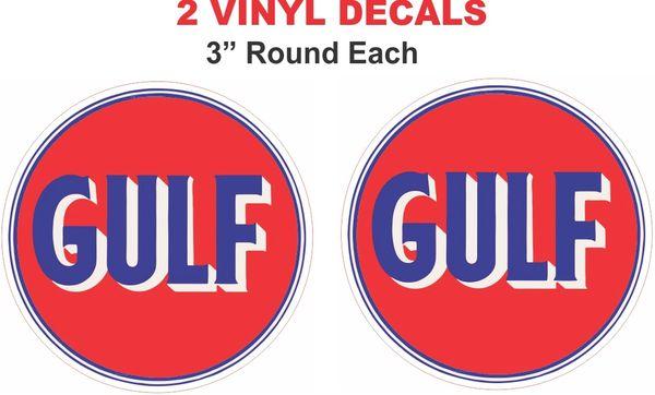 2 Round Vintage Style Gulf Decals