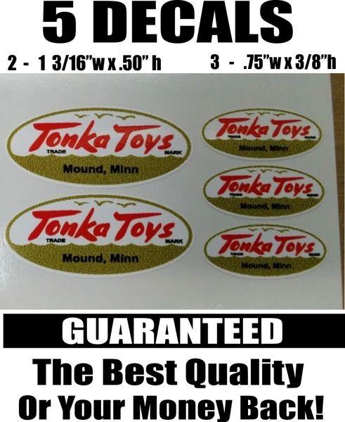 5 White Gold Tonka Toys Mound Minn. Decals - Nice!!