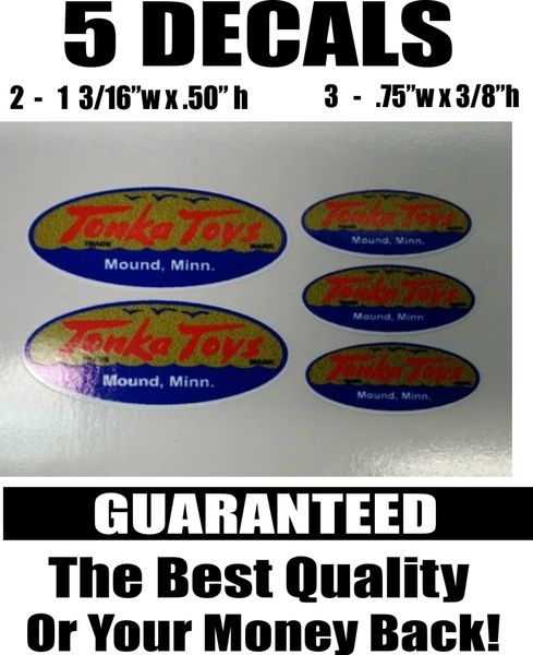 5 Tonka Toys Mound Minn. Gold Blue Decals - The Best!