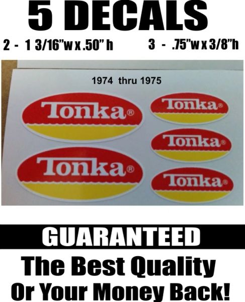 5 Tonka Red and Yellow Decals 1974 through 1975 - I dare you to find better!