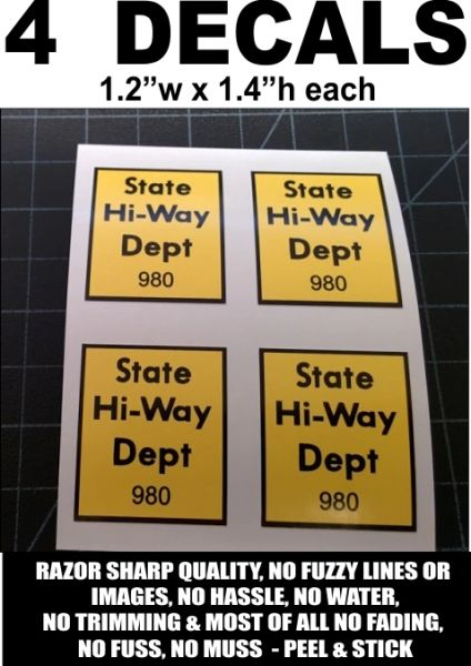 4 Tonka State Hi-Way Dept. 980 Decals - Awesome!