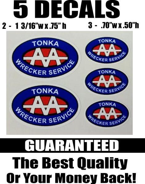 5 Tonka Wrecker Service Decals Blue Red - Nice