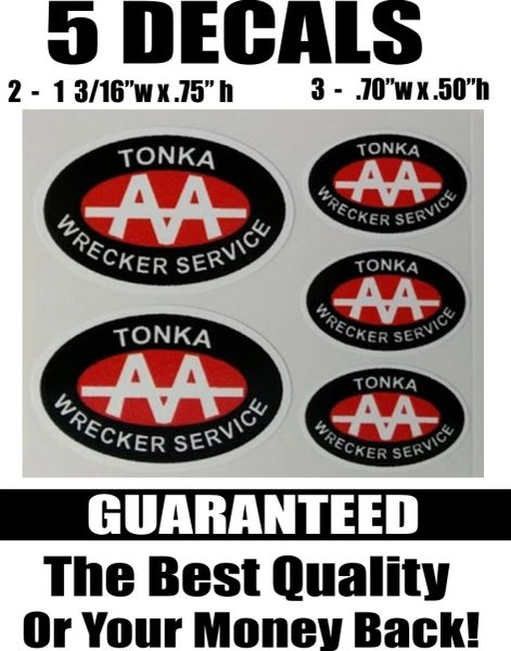 5 Tonka Wrecker Service Decals Black and Red - Only the Best
