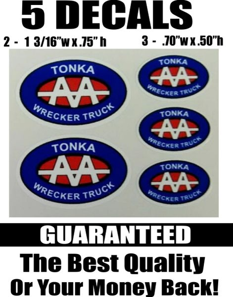 5 Tonka Wrecker Truck Decals - Extremely Nice like the rest of my Decals!!