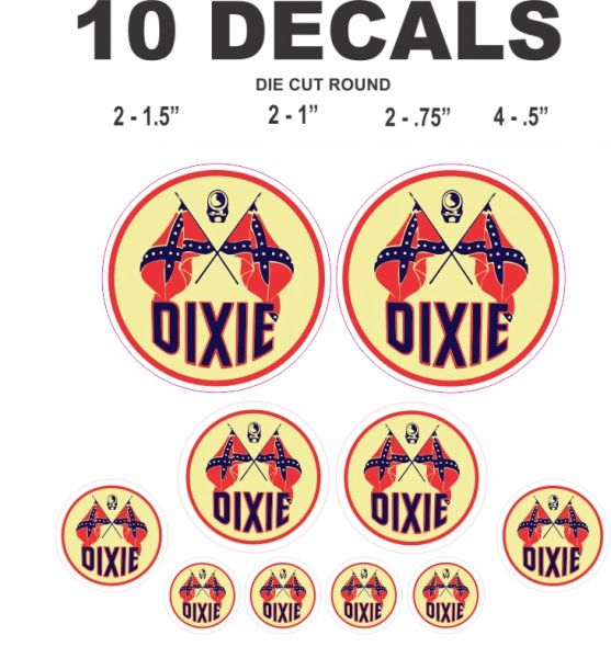 10 Dixie Gasoline Decals, Great for all your scale projects including Dioramas