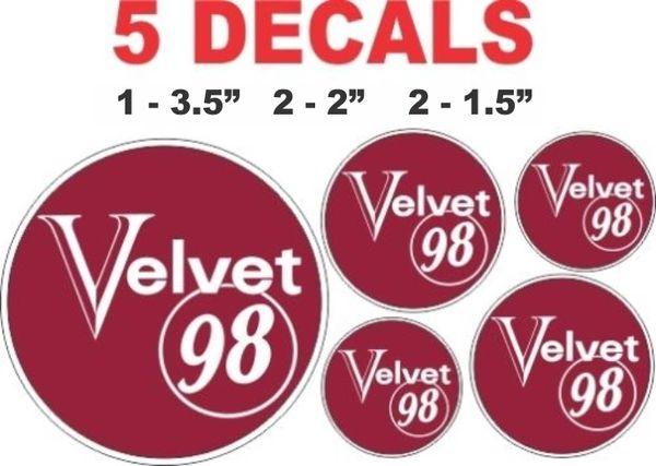 5 Velvet 98 Gasoline Decals - Nice!
