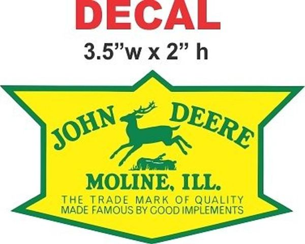 1 Vintage John Deere Moline Ill. Decal - Full Bleed ( No White Space ) Nice!!!