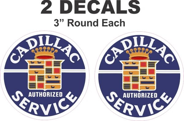 2 Vintage Style Cadillac Authorized Service Decals - Noce!