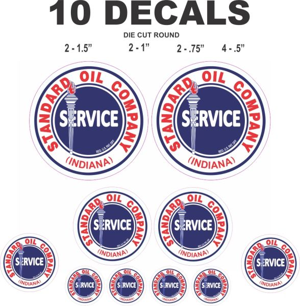 10 Standard Oil Company Service Decals, Great for Scale Models, Gas / Oil Cans, Dioramas and More!