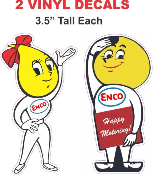 2 Decals Esso Boy and Girl Decals - Very Nice