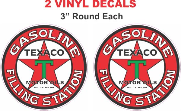 2 Texaco Filling Station Decals - Very Nice