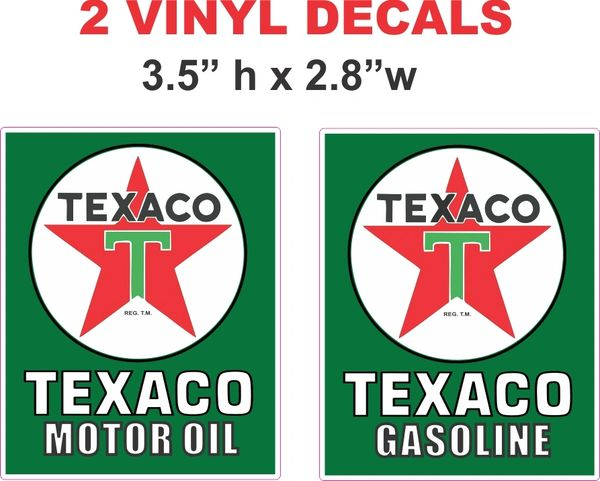 2 Texaco Green Motor Oil and Gasoline Decals - 1 of Each...Nice