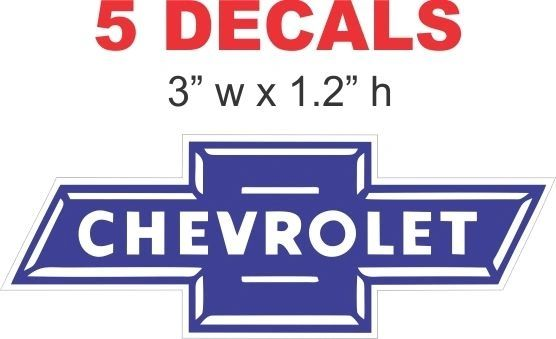 5 Chevrolet Bowtie Decals Die cut to shape