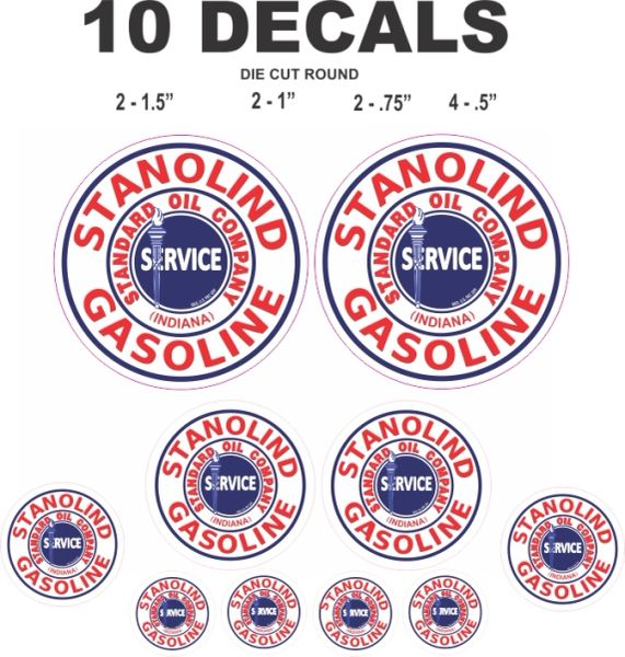 10 Stanolind Gasoline, Standard Oil Company Decals - Great For Scale models, Gas & Oil Cans, Diorama and more