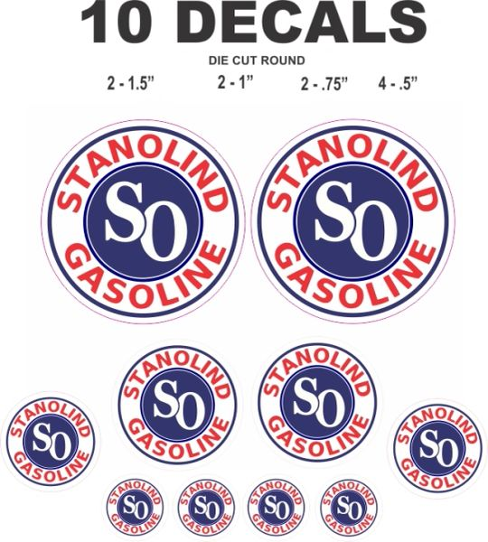 10 Stanolind Gasoline SO Standard Oil Company Decals - Great For Any Project