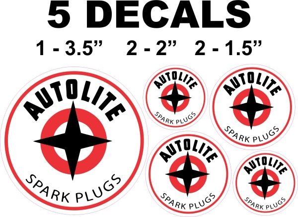 5 Autolite Spark Decals Set