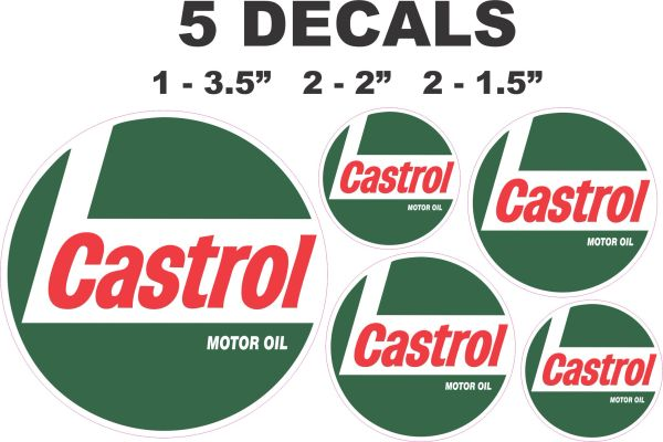 5 Castrol Racing Motor Oil Decals