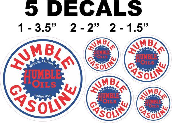5 Humble Gasoline Decals - Nice