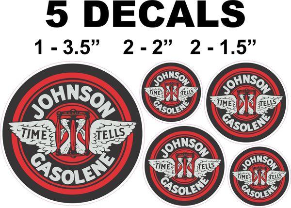 5 Johnson Time Tells Gasoline Gasolene Decals