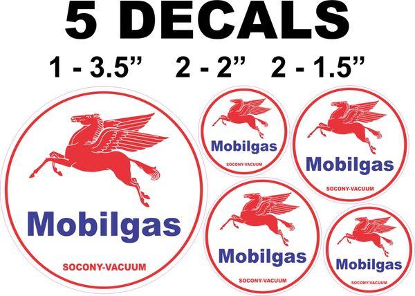 5 Mobil Gas Socony Vacuum Decals Left Facing Pegasus