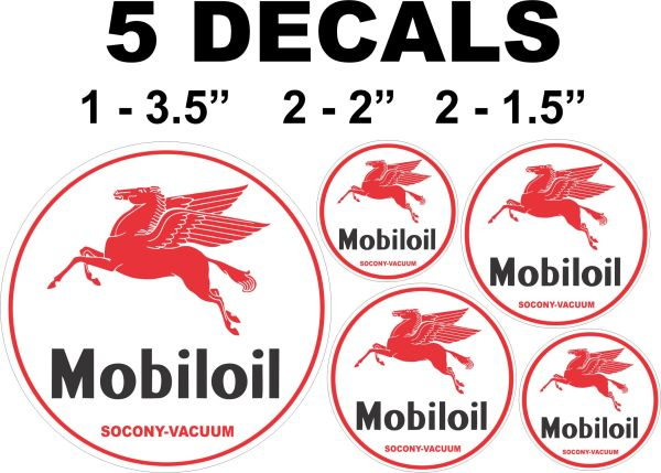 5 Mobil Oil Mobiloil Socony Vacuum Decals Left Facing Pegasus