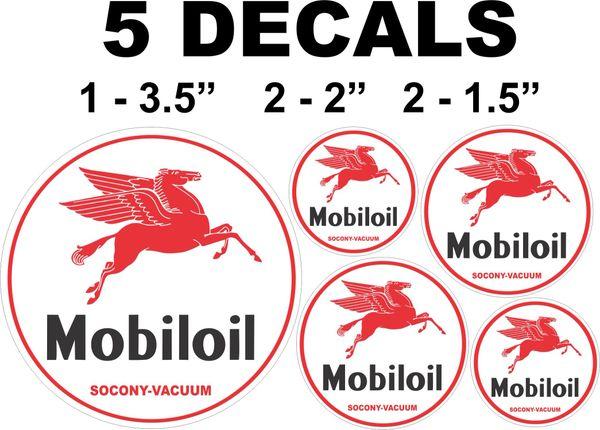 5 Mobiloil Mobil Oil Socony Vacuum Decals Right Facing Pegasus