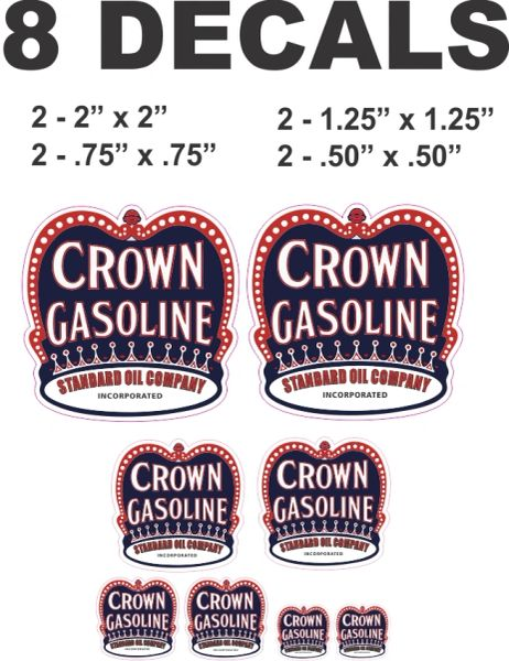 8 Crown Gasoline Standard Oil Company Decals