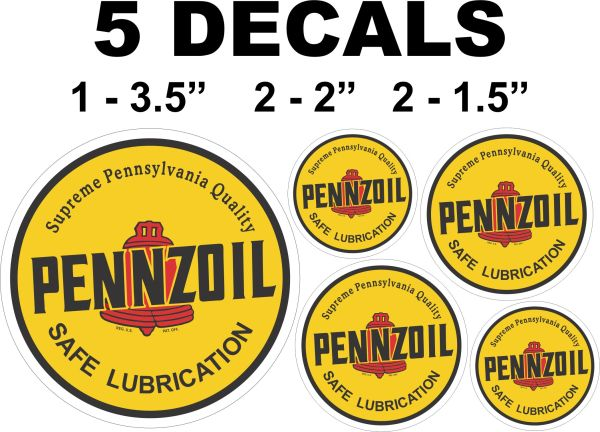 5 Vintage Style Pennzoil Decals - Nice