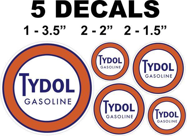 5 VintageStyle Tydol Gasoline Decals