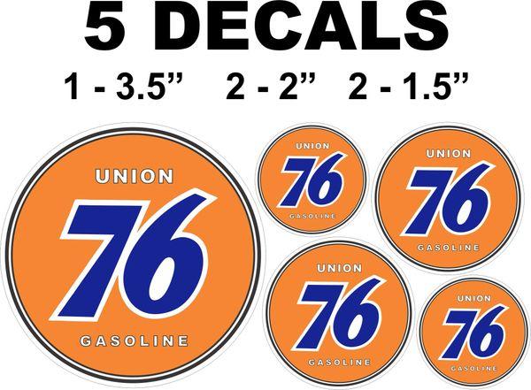 5 Union 76 Gasoline Decals - Nice