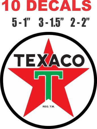 10 Texaco Decals - Very Nice For Scale models. Dioramas, Gas / Oil Cans