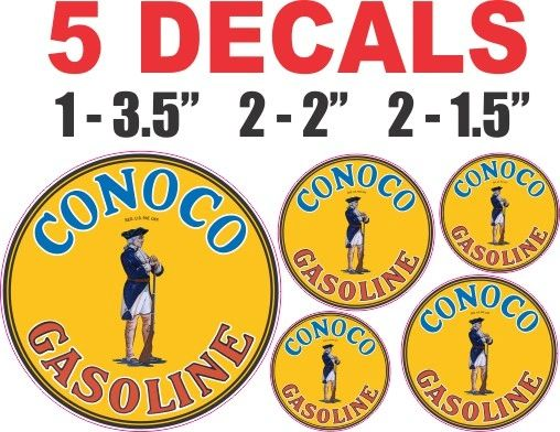 5 Conoco Gasoline Decals