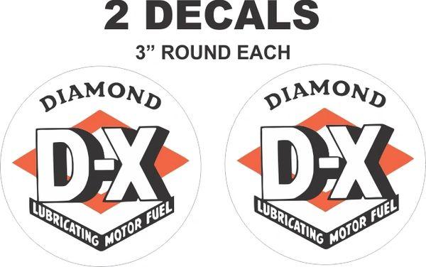 2 Diamond DX Lubricating Motor Fuel Decals