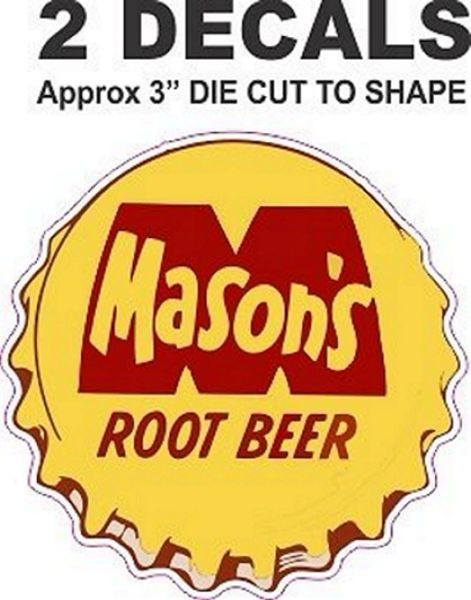2 Vintage Style Mason's Root Beer Decal - Die Cut The way it;s suppose to be