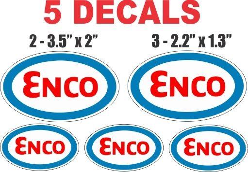 5 Enco Gasoline Decals