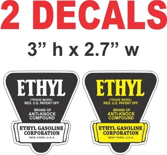 2 Ethyl Decals - 1 White & 1 Yellow - Nice - Die Cut To Shape