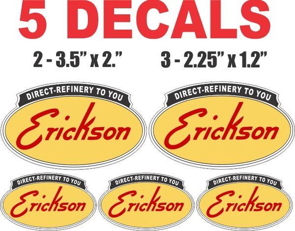 5 Erickson Gasoline Decals