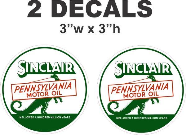 2 Sinclair Pennsylvania Motor Oil Decals