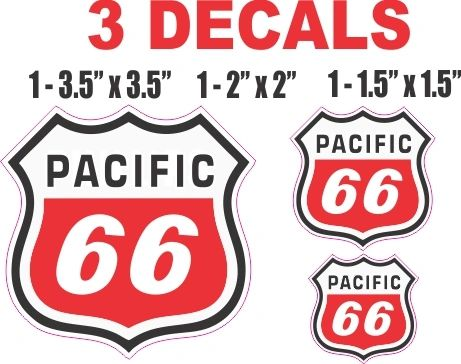 3 Pacific 66 Decals