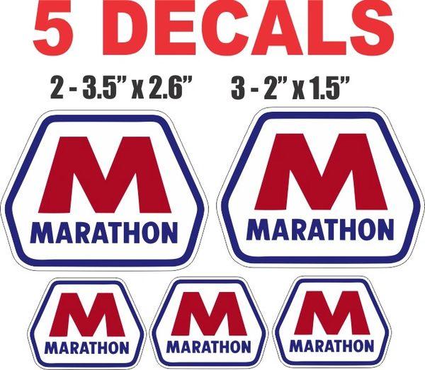 5 Marathon Gasoline Decals